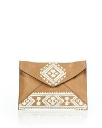 Tan Embroidered Leather Clutch