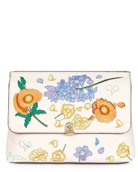 Topshop Floral Embroidered Faux Leather Clutch Beige