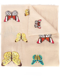 Beetle and butterfly embroidered scarf medium 4979085