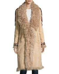 Haute Hippie Embroidered Shearling Coat Buff
