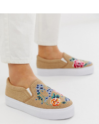 ASOS DESIGN Wide Fit Valegro Embroidered Slip On Plimsolls