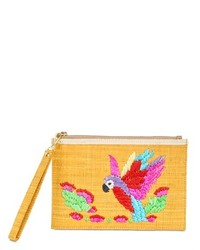 Tan Embroidered Straw Clutch