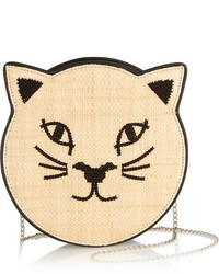 Charlotte Olympia Pussycat Embroidered Raffia And Leather Shoulder Bag