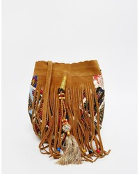 Suede bucket bag with hand embroidery medium 781116