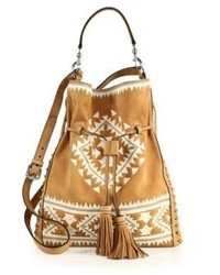 Moto large embroidered suede drawstring crossbody bag medium 775595