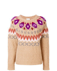 Tan Fair Isle Crew-neck Sweater
