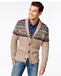 Tan Fair Isle Shawl Cardigans for Men | Men's Fashion
