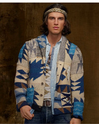 Denim & Supply Ralph Lauren Sweater Patchwork Shawl Collar Cardigan