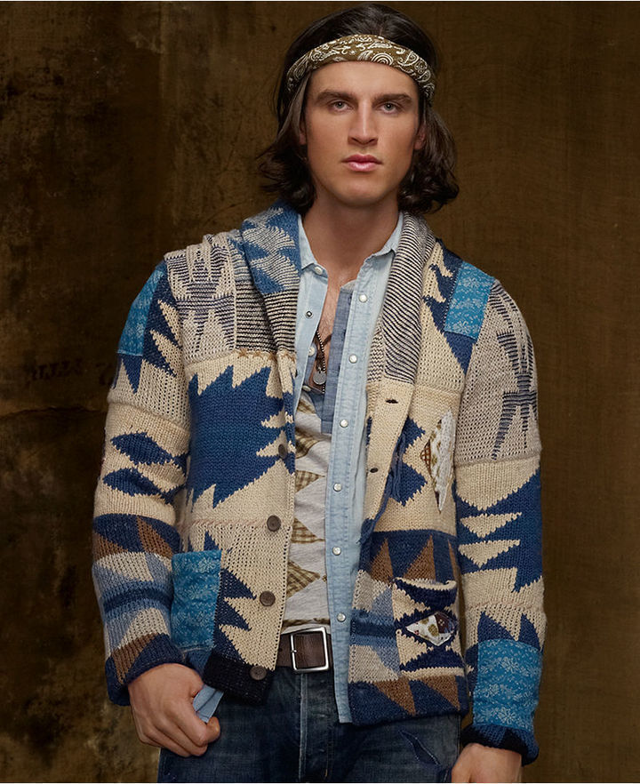 Denim & Supply Ralph Lauren Sweater Patchwork Shawl Collar ...
