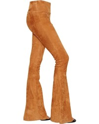 Drome flared high waist stretch suede pants medium 637742