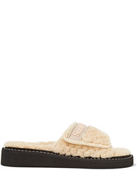 See by Chloe See By Chlo Faux Shearling Slides Beige