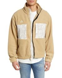 Tan Fleece Bomber Jacket