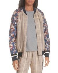 3.1 Phillip Lim Check Floral Bomber Jacket