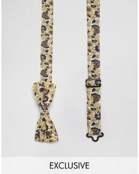Reclaimed Vintage Ditzy Floral Bow Tie In Brown