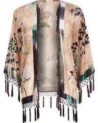 River Island Beige Floral Print Fringed Kimono