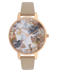 Olivia Burton Marble Floral Leather Watch