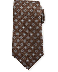 Isaia Neat Repeating Floral Silk Tie