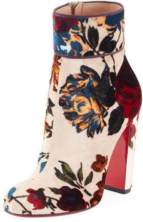 142b416e30d $1,095, Christian Louboutin Moulamax Floral Velvet 100mm Red Sole Bootie