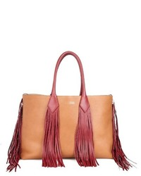 Tan Fringe Leather Tote Bag