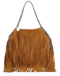 Stella McCartney Falabella Small Fringe Tote Tan