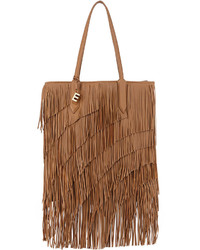 Elizabeth and James Scott Fringed Leather Tote Bag Camel