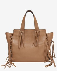 Valentino C Rockee Fringe Leather Tote Brown