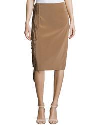 Brunello Cucinelli Feathered Fringe High Waist Skirt Beige