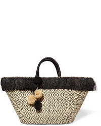 Kahuna pompom embellished fringed woven straw tote beige medium 954108