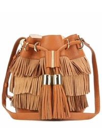 See by chlo vicki small fringed suede and leather bucket bag medium 453296