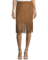 Faux suede fringe hem skirt camel medium 748009