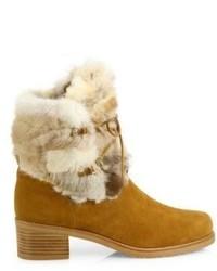 de89efeb206 ... Stuart Weitzman Furnace Mink Fur Suede Lace Up Booties