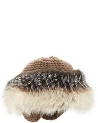 Inverni Cashmere Knit Hat With Fox Fur Brim Tan
