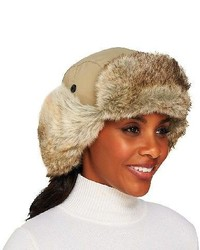 Qvc trapper hat with ear flaps in faux fur trim medium 127336