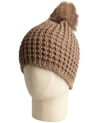 Tan wool blend and fox fur pom pom hat medium 127335