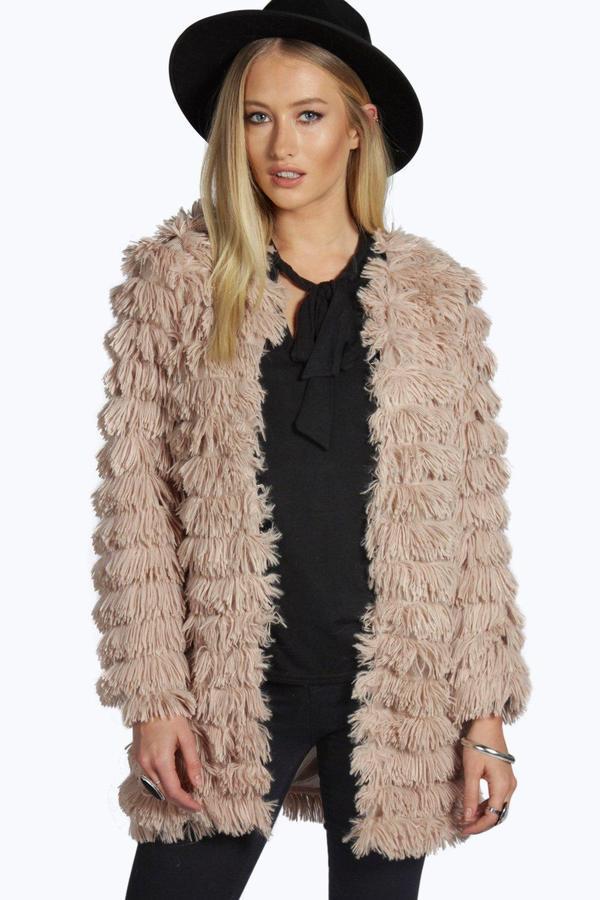 brand new look good shoes sale good reputation $44, Boohoo Lottie Shaggy Faux Fur Coat