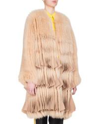 Fox fur chiffon trim coat camel medium 5360117