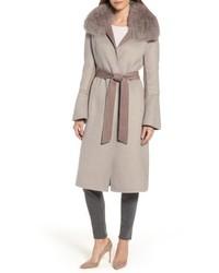 Annabelle genuine fox fur trim double face long wrap coat medium 4950725