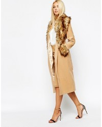 Missguided Coat With Faux Fur Collar And Cuffs