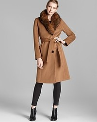 Ellen Tracy Coat Fox Fur Collar Belted