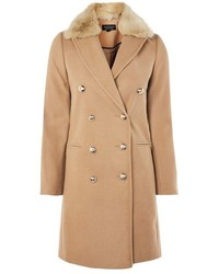 Topshop Faux Fur Collar Crombie Coat