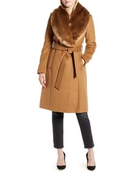Rachel Parcell Faux Fur Collar Wool Blend Coat