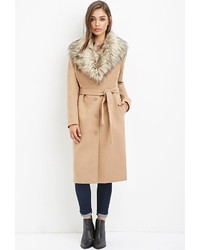 Forever 21 Faux Fur Trimmed Duster Coat