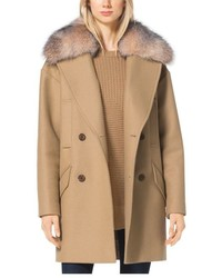 Michael Kors Michl Kors Fur Trimmed Wool Melton Coat