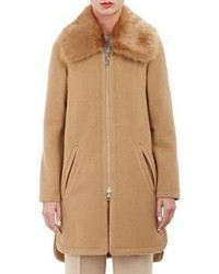 Chloé Shearling Collar Coat Colorless