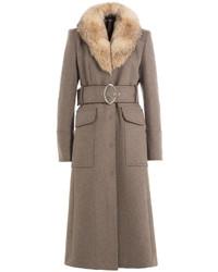 Tara Jarmon Virgin Wool Coat With Fur Collar