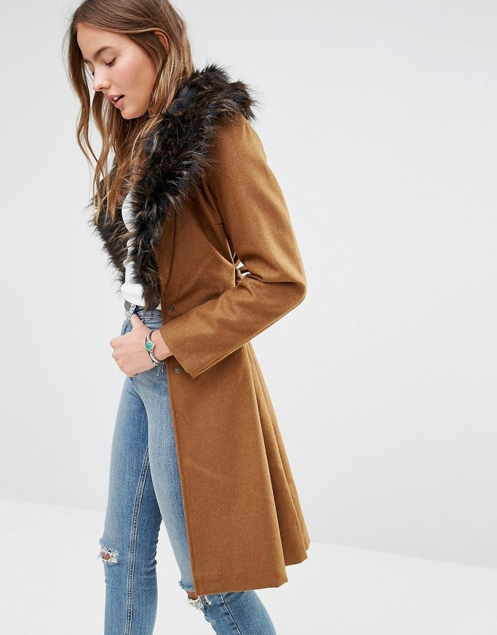 5a6fe71fa4d7 ... Brave Soul Wool Mix Longline Coat With Oversized Faux Fur Collar ...