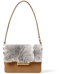 Diane rabbit fur saddle crossbody bag tan medium 650305