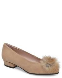 Sandy flat with genuine rabbit fur pom medium 4468380