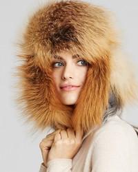 Maximilian Furs Maximilian Fox Fur Trimmed Hat
