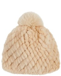 Barneys New York Mink Fox Fur Beanie